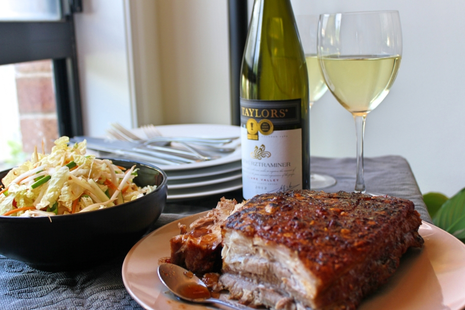 Tamarind glazed pork belly and Taylor's wine